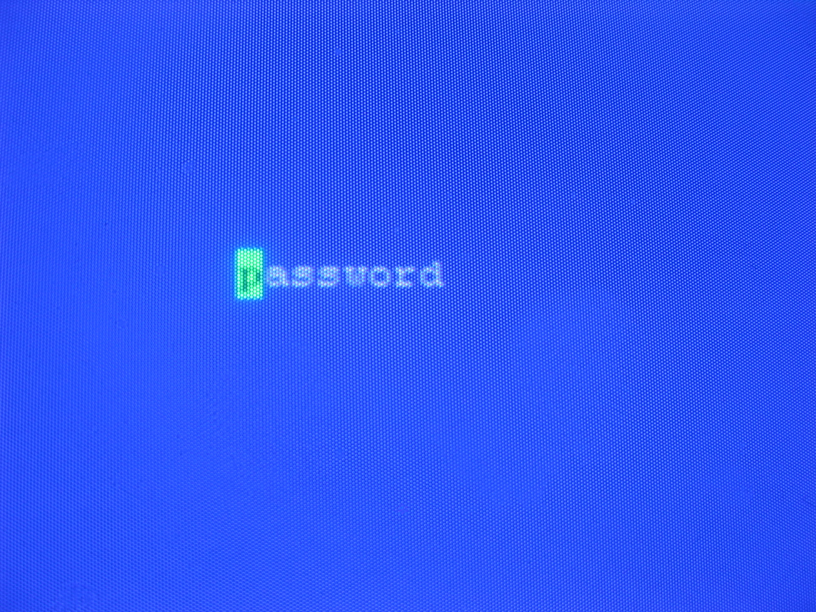 Password on a CRT monitor