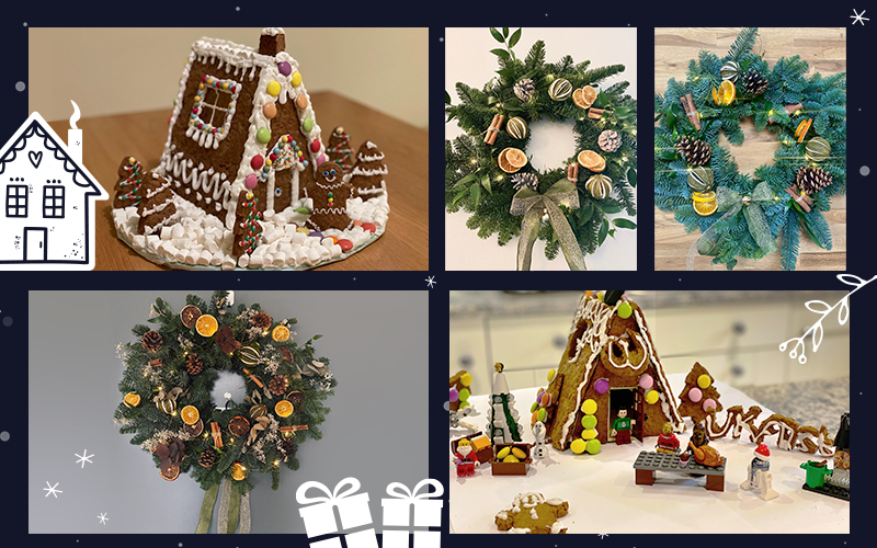 wreaths and gingerbread